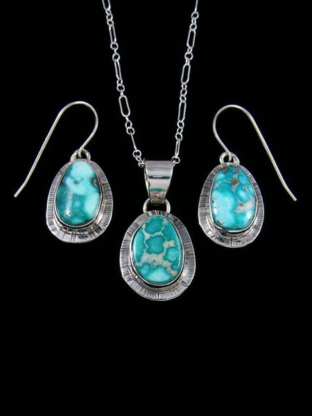 Native American Indian Jewelry White Water Turquoise Pendant and Earrings Set