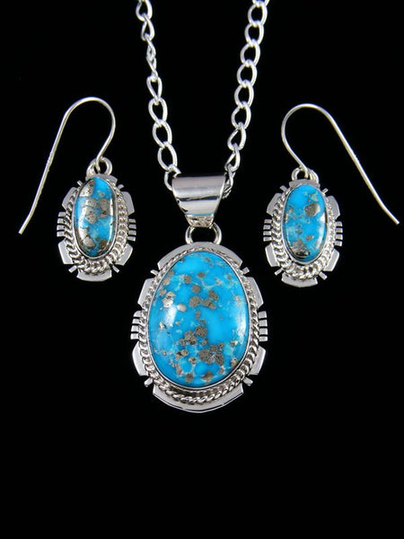 Native American Indian Jewelry Blue Bird Turquoise Pendant and Earrings Set