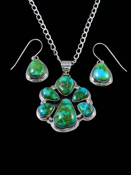 Native American Indian Jewelry Sonoran Gold Turquoise Pendant and Earrings Set