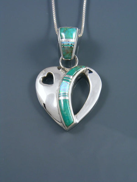 Navajo Inlay Sterling Silver Heart Pendant