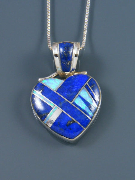 Navajo Inlay Lapis and Opalite Heart Pendant