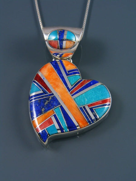 Navajo Inlay Spiny Oyster and Lapis Heart Pendant