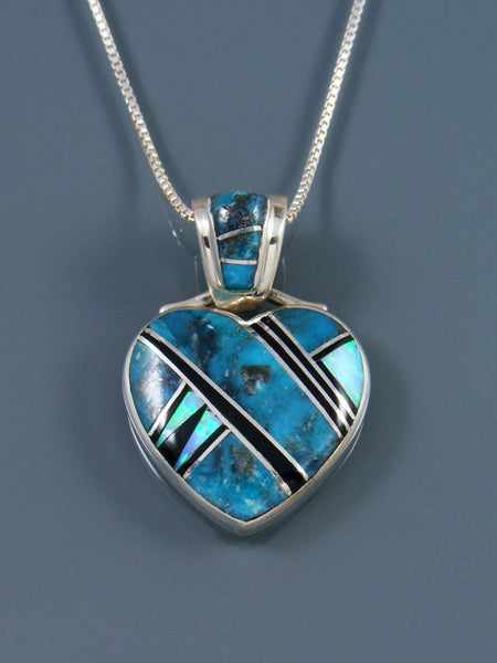 Navajo Inlay Turquoise and Opalite Heart Pendant