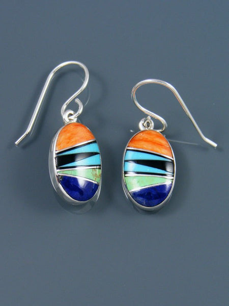 Native American Sterling Silver Spiny Oyster Dangle Earrings