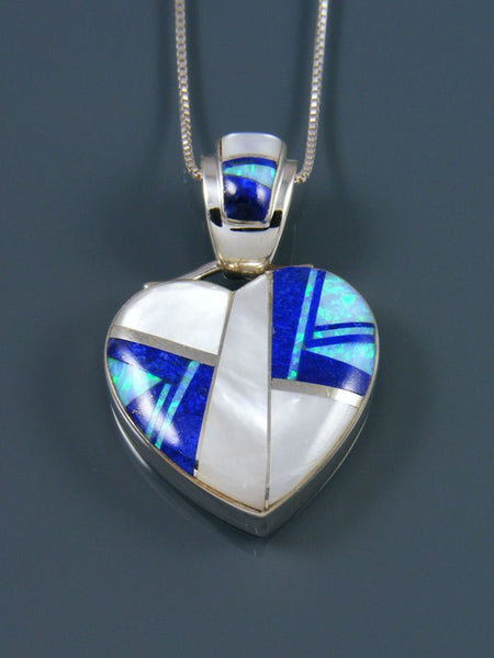 Navajo Inlay Lapis and Mother of Pearl Heart Pendant