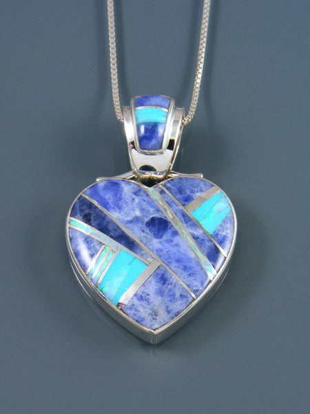 Navajo Inlay Sodalite and Turquoise Heart Pendant