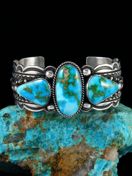 Native American Sterling Silver Sonoran Gold Turquoise Cuff Bracelet
