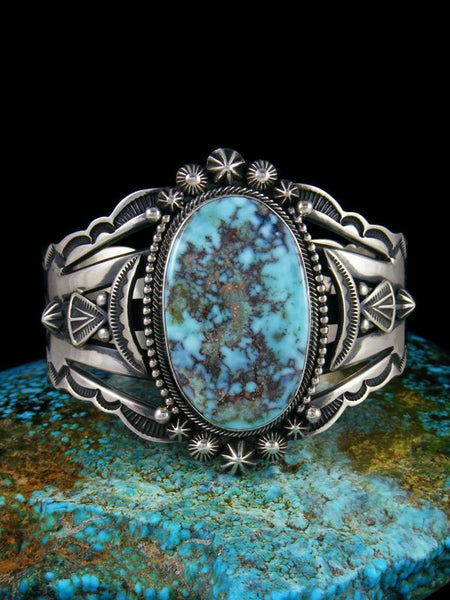 Native American Sterling Silver Dry Creek Turquoise Cuff Bracelet