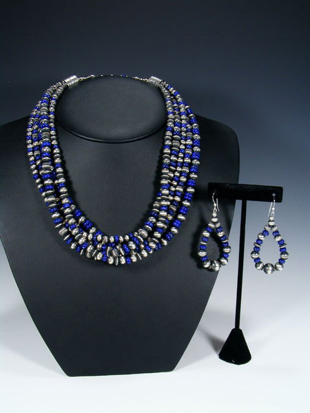 Native American Sterling Silver and Lapis Graduated Five Strand Bead Necklace Set