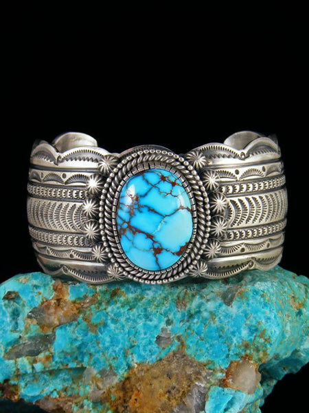 Native American Sterling Silver Natural Egyptian Turquoise Cuff Bracelet