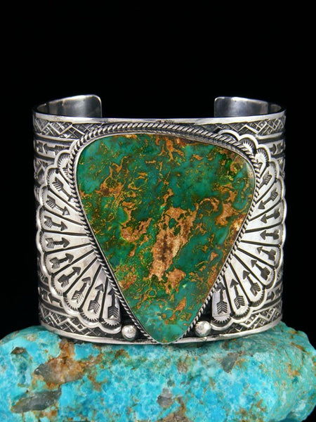 Native American Natural Stone Mountain Turquoise Cuff Bracelet