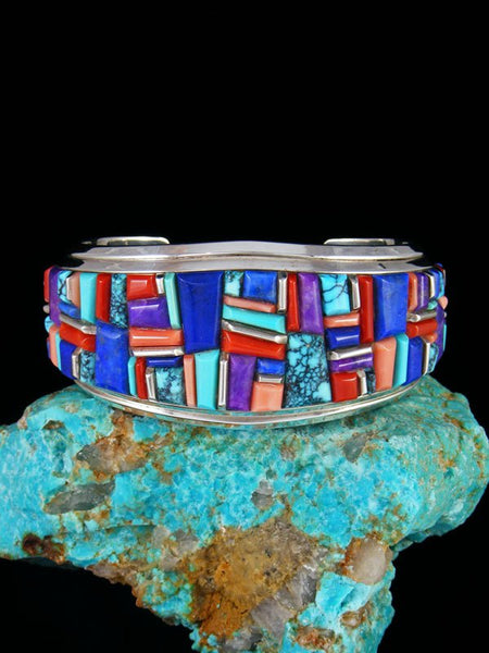 Native American Sterling Silver Multi-Stone Cobblestone Inlay Cuff Bracelet