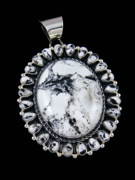 Large White Buffalo Navajo Sterling Silver Pendant