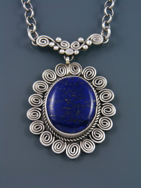 Native American Lapis Sterling Silver Necklace