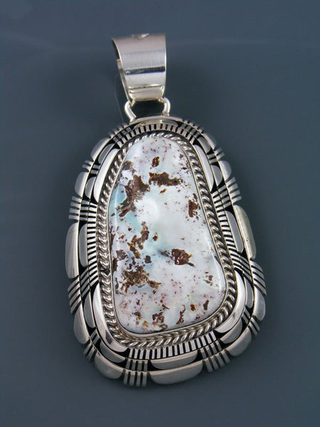 Large Dry Creek Turquoise Navajo Sterling Silver Pendant