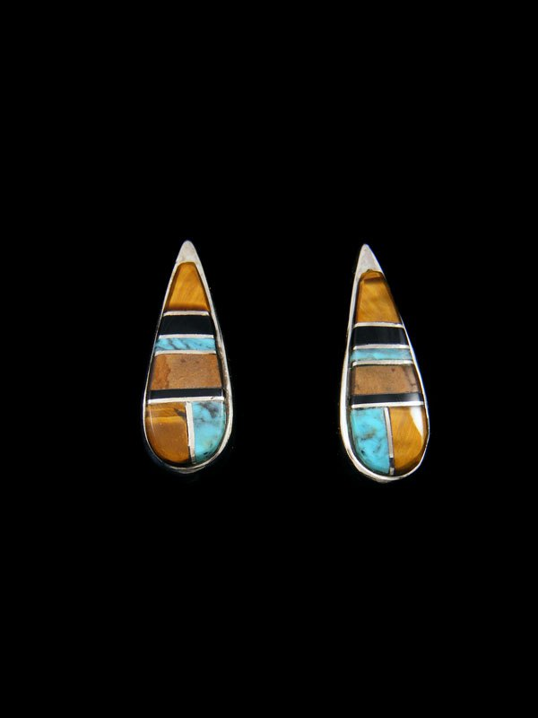 Navajo Tigers Eye and Turquoise Inlay Post Earrings