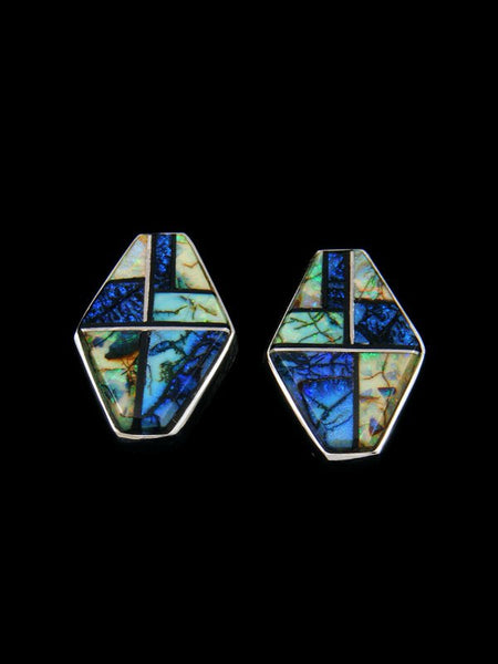 Navajo Monarch Opal Inlay Post Earrings