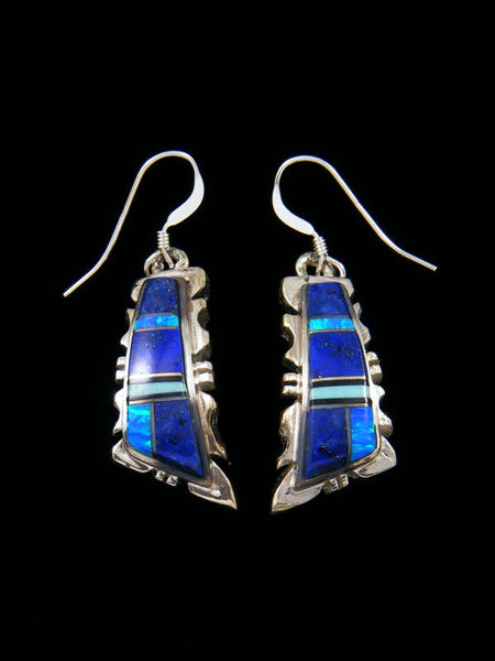 Navajo Lapis and Opalite Inlay Dangle Earrings