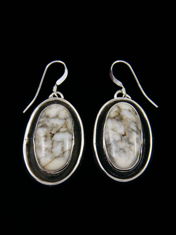 Navajo Shadowbox White Buffalo Sterling Silver Dangle Earrings