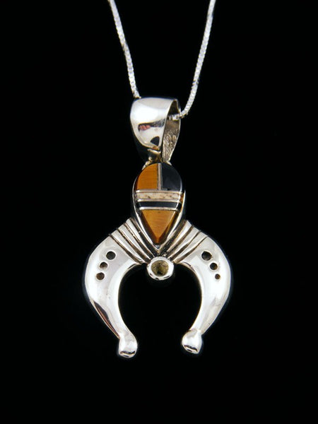 Native American Onyx and Tigers Eye Inlay Naja Pendant