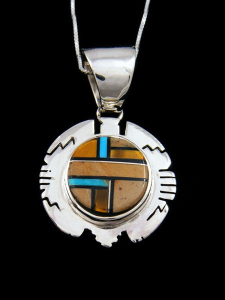 Native American Turquoise and Tigers Eye Inlay Pendant