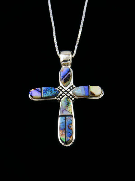 Native American Inlay Sterling Silver Monarch Opal Cross Pendant