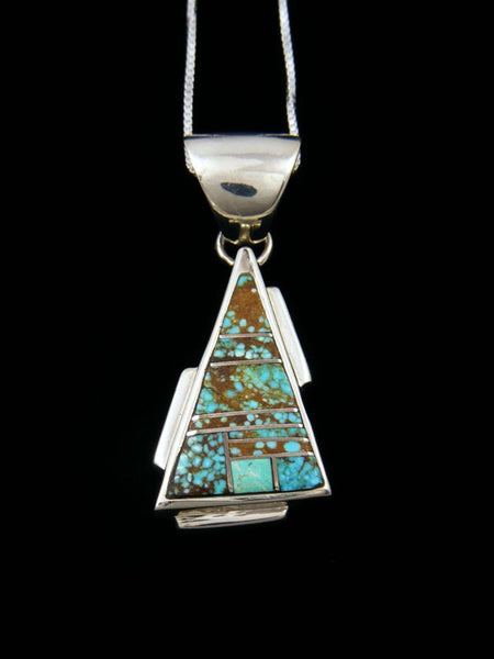 Navajo Necklace Inlay Turquoise Pendant