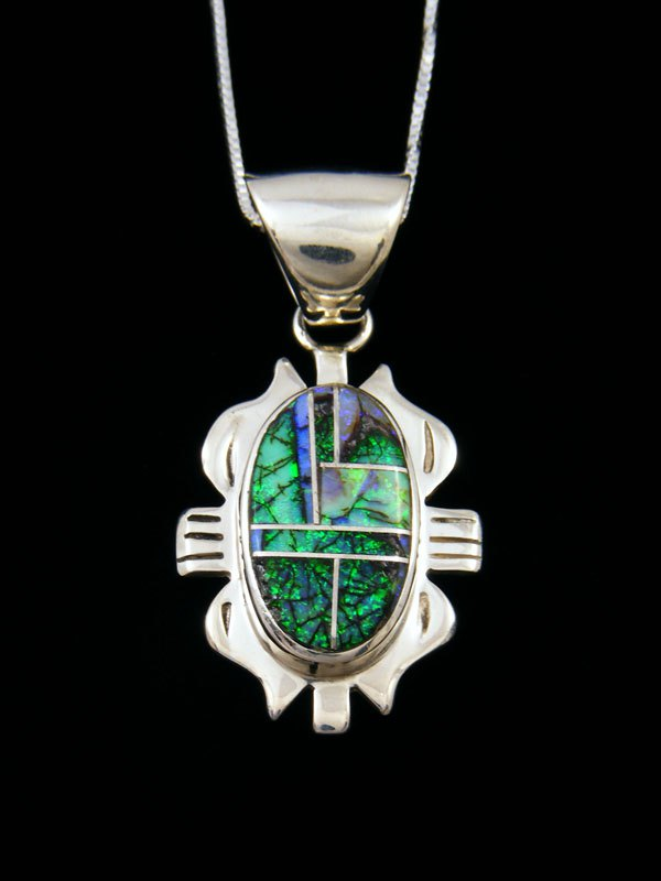 Native American Inlay Sterling Silver Monarch Opal Pendant