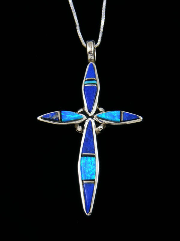 Sterling Silver Navajo Lapis Cross Inlay Pendant