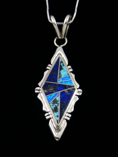 Native American Opalite and Lapis Inlay Pendant