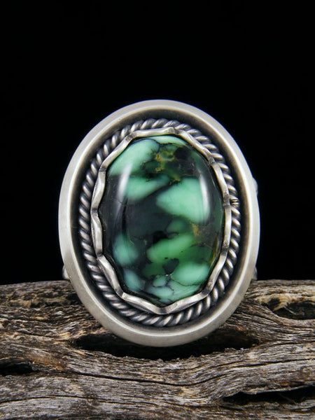 Sterling Silver New Lander Variscite Ring, Size 12