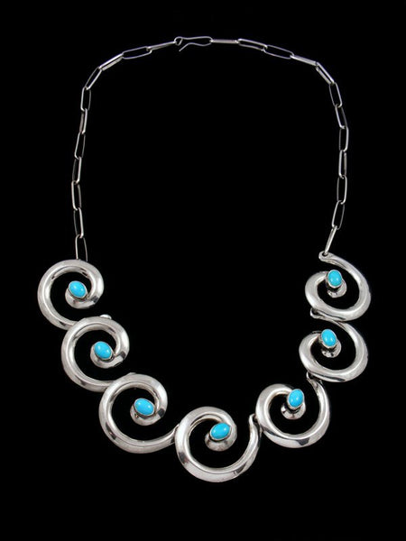 Native American Turquoise Swirl Choker Necklace