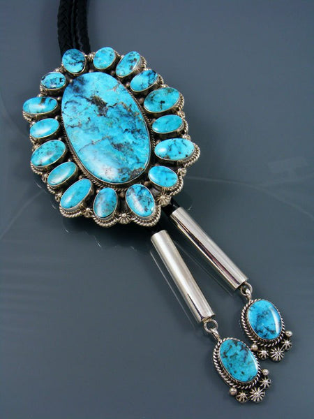 Large Native American Sterling Silver Apache Blue Turquoise Bolo Tie