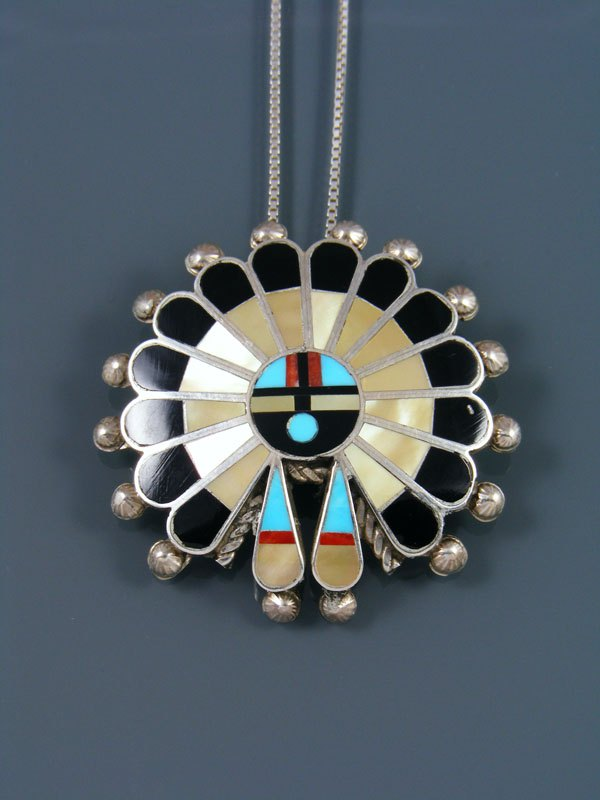 Sterling Silver Native American Zuni Inlay Sunface Pin Pendant
