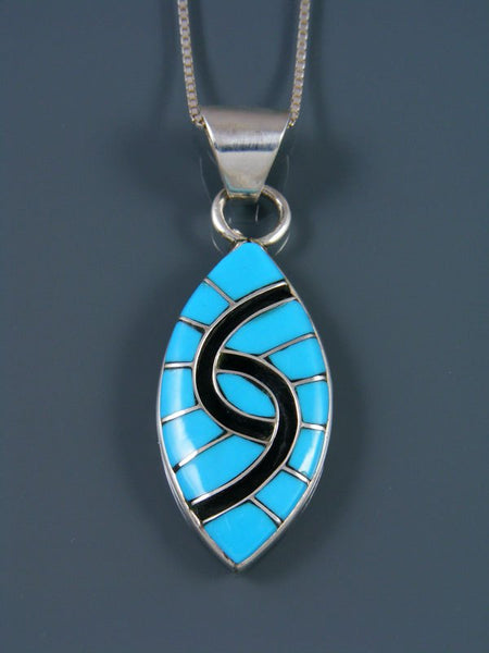 Turquoise Sterling Silver Zuni Inlay Pendant