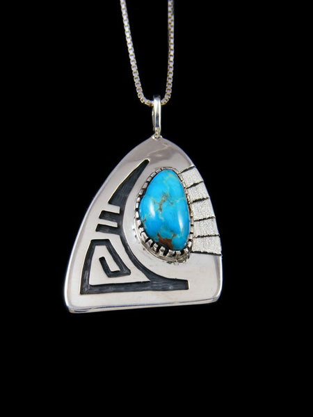 Native American Sterling Silver Hopi Overlay Turquoise Pendant