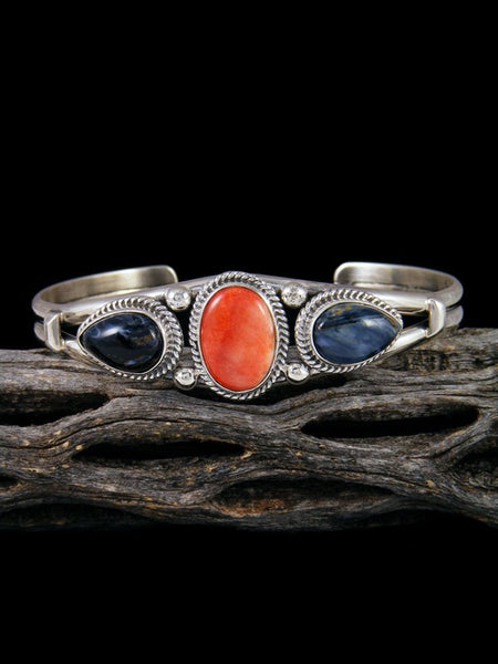 Native American Sterling Silver Spiny Oyster and Pietersite Bracelet