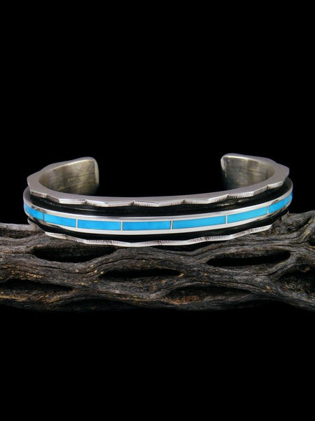 Zuni Inlay Sterling Silver Turquoise Cuff Bracelet