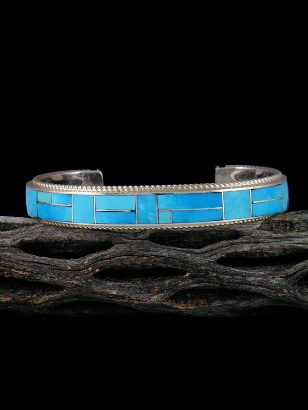 Sterling Silver Zuni Turquoise Inlay Cuff Bracelet