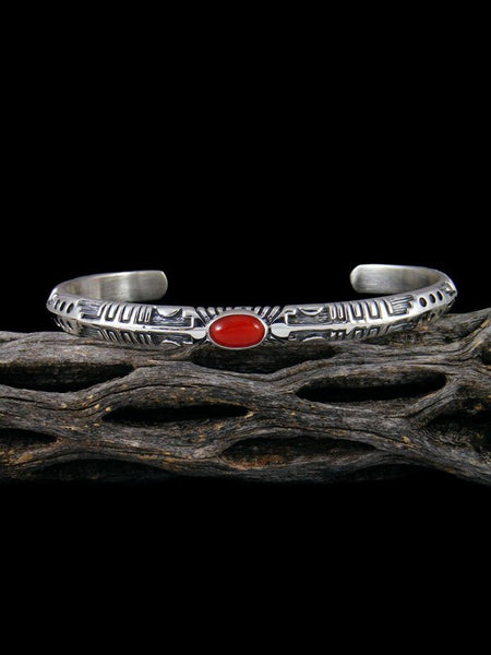 Native American Red Coral Cuff Bracelet