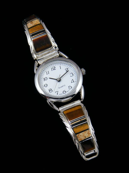 Native American Jewelry Tiger Eye Inlay Ladies' Watch
