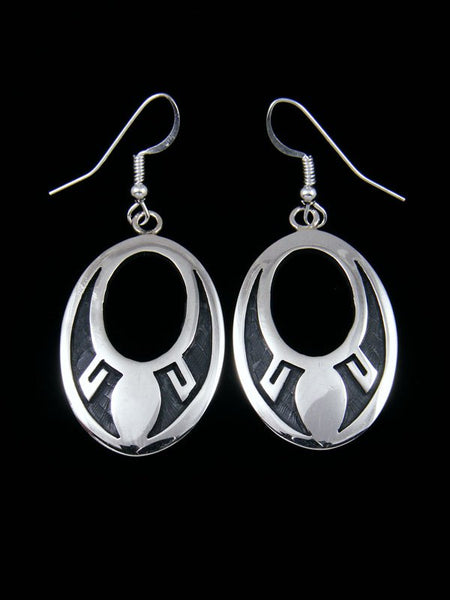 Sterling Silver Hopi Overlay Dangle Earrings