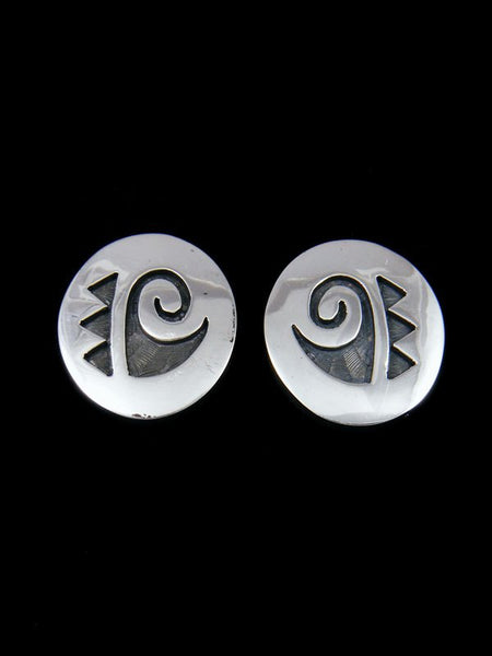 Sterling Silver Hopi Overlay Post Earrings