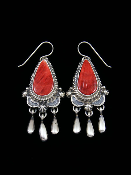 Navajo Spiny Oyster Sterling Silver Dangle Earrings