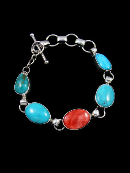 Native American Spiny Oyster and Turquoise Link Bracelet