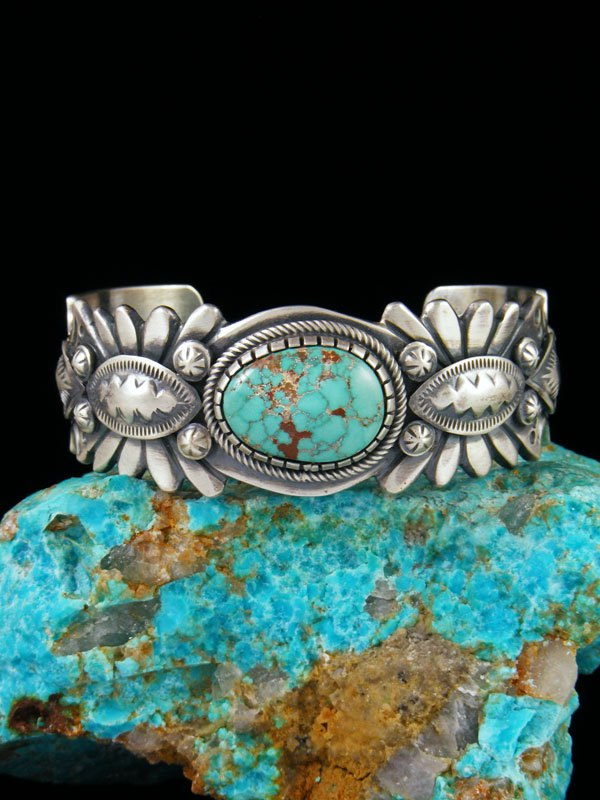 Native American Sterling Silver Carico Lake Turquoise Bracelet