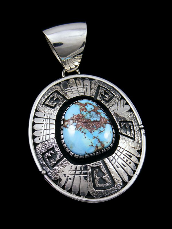Sterling Silver Golden Hill Turquoise Shadowbox Navajo Pendant
