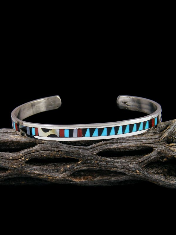 Zuni Inlay Sterling Silver Turquoise Bracelet