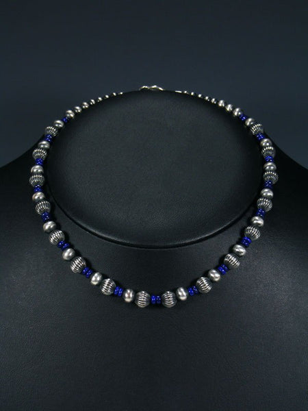 "16"" Navajo Blue Lapis Sterling Silver Bead Necklace"