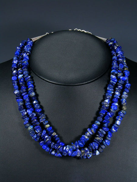 Native American Triple Strand Blue Lapis Necklace